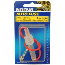 In-Line Glass Fuse Holder With 10 Amp Glass Fuse