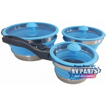 COLLAPSIBLE SILICONE SPACE SAVING NON STICK POTS