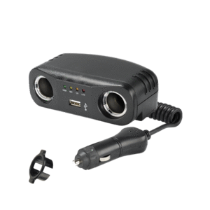Cigarette Lighter Plug with Extended Lead, Accessory Sockets and USB Socket