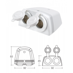 Surface Mount Twin Accessory Sockets