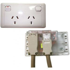 CMS Double White 10 AMP Power Outlet with 20 AMP Install Couplers